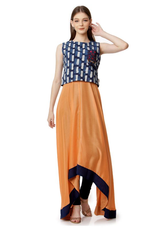 Ochre & Dark Blue Colour A Line Kurti With Indo Print