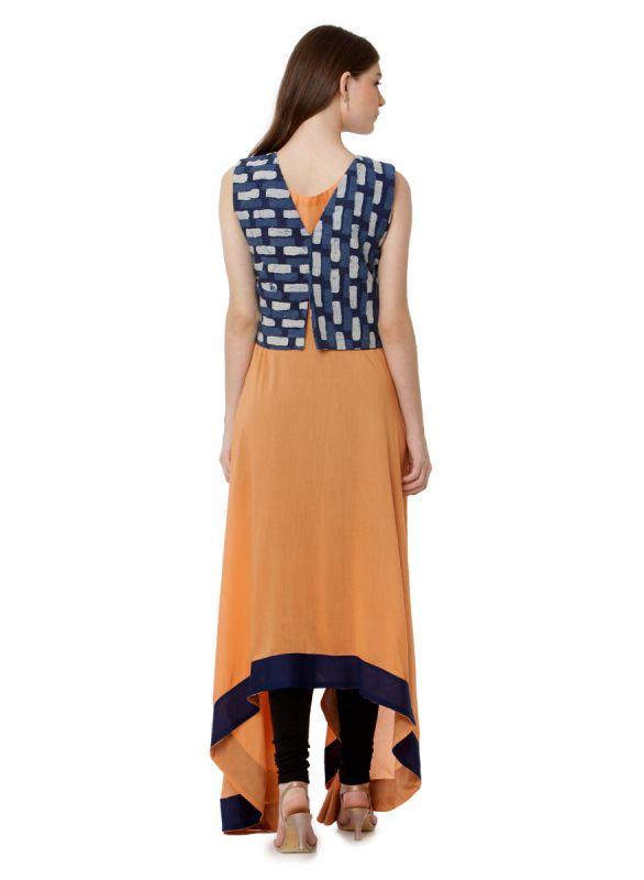 Ochre & Dark Blue Colour A Line Kurti With Indo Print