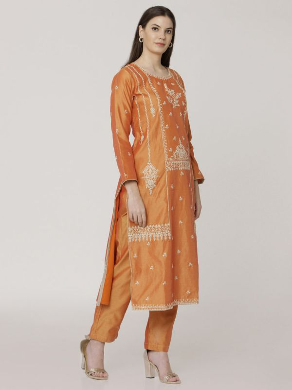 Bright Orange Chanderi Salwar Pant Set With Dori Work & Block Print Dupatta