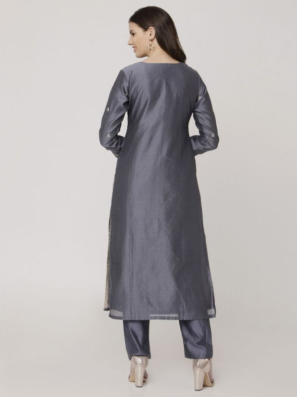 Payne Grey Chanderi Salwar Pant Set With Dori Work & Block Print Dupatta