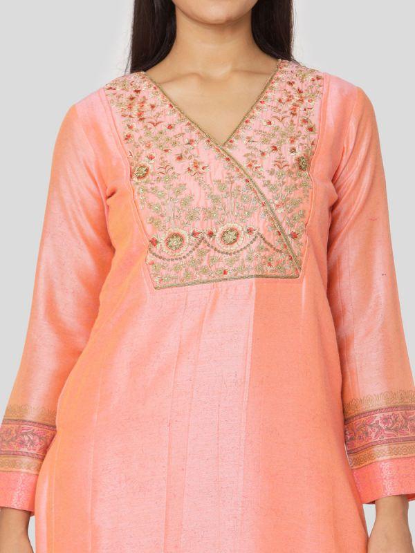 Salmon Pink Chanderi Salwar Pant Set Done Hand & Machine Emboidery Work Comes With Block Print Dupatta