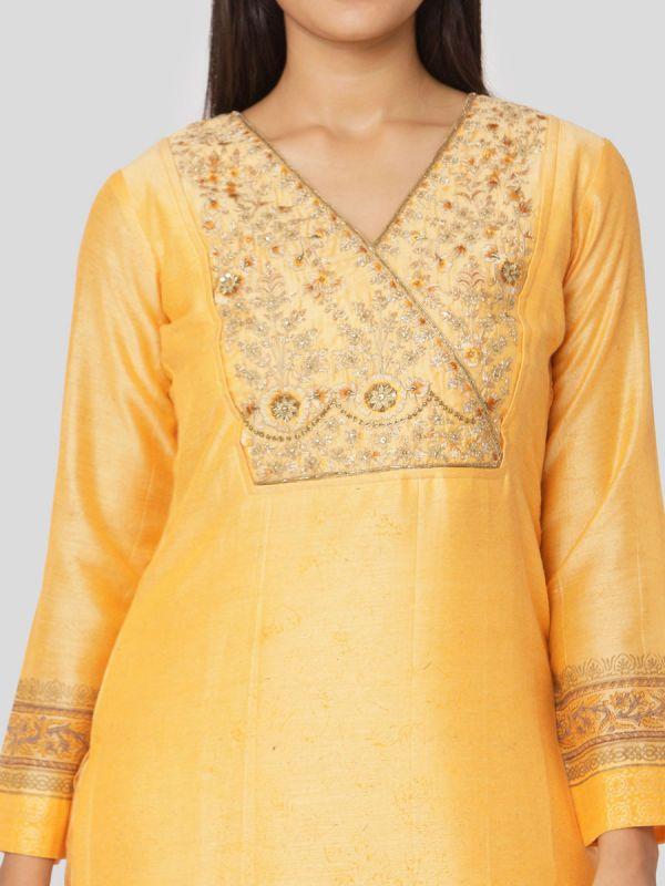 Marigold Yellow Chanderi Salwar Pant Set Done Hand & Machine Emboidery Work Comes With Block Print Dupatta