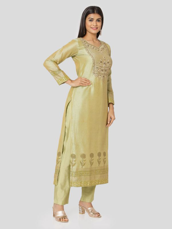 Straw Green Chanderi Salwar Pant Set Done Hand & Machine Emboidery Work Comes With Block Print Dupatta