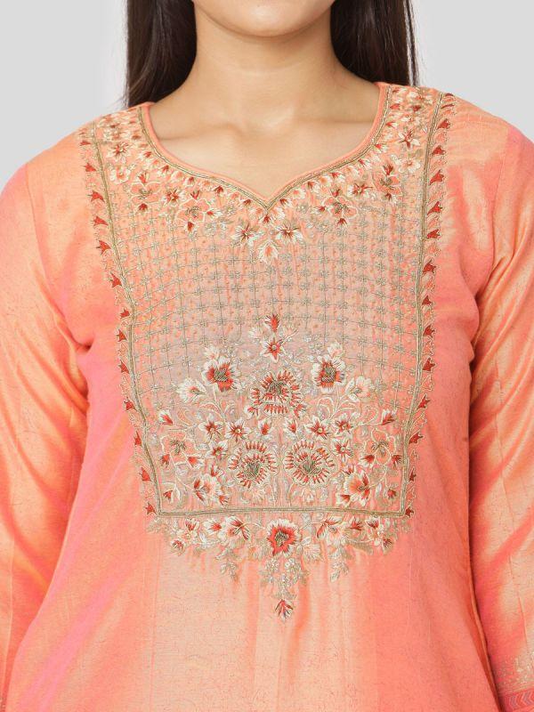Coral Peach Chanderi Salwar Pant Set Done Hand & Machine Emboidery Work Comes With Block Print Dupatta