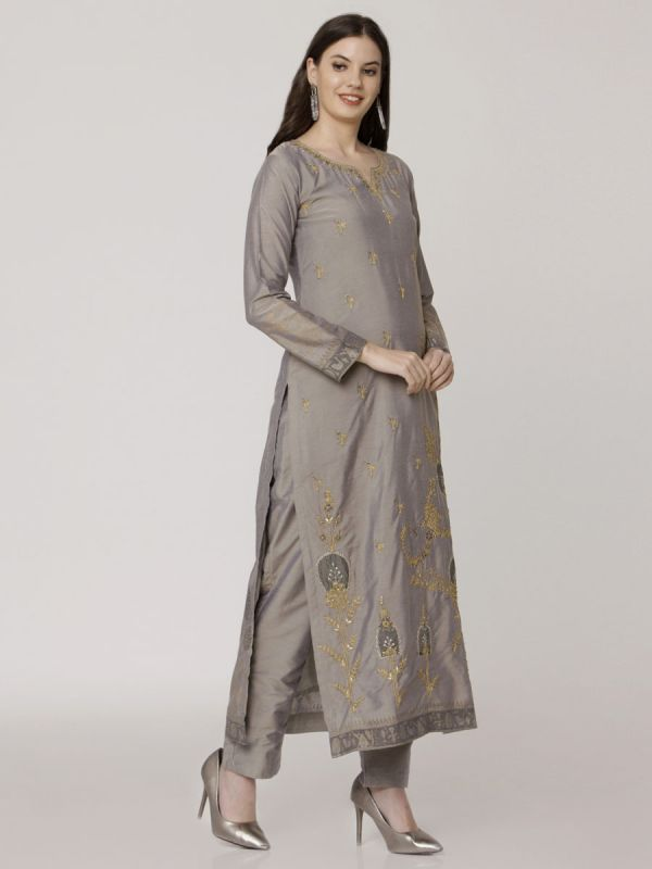 Stack Grey Chanderi Salwar Pant Set Done Hand & Machine Emboidery Work Comes With Block Print Dupatta