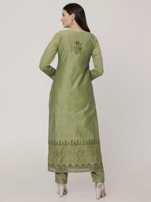 Reseda Green Chanderi Salwar Pant Set Done Hand & Machine Emboidery Work Comes With Block Print Dupatta