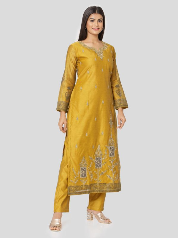 Goldenrod Mustard Chanderi Salwar Pant Set Done Hand & Machine Emboidery Work Comes With Block Print Dupatta