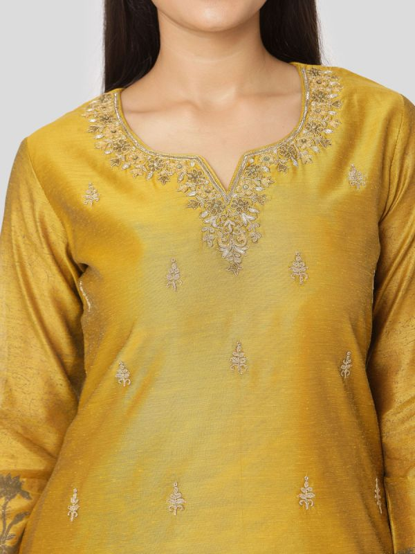Goldenrod Mustard Chanderi Salwar Pant Set Done Hand & Machine Emboidery Work Comes With Block Print Dupatta