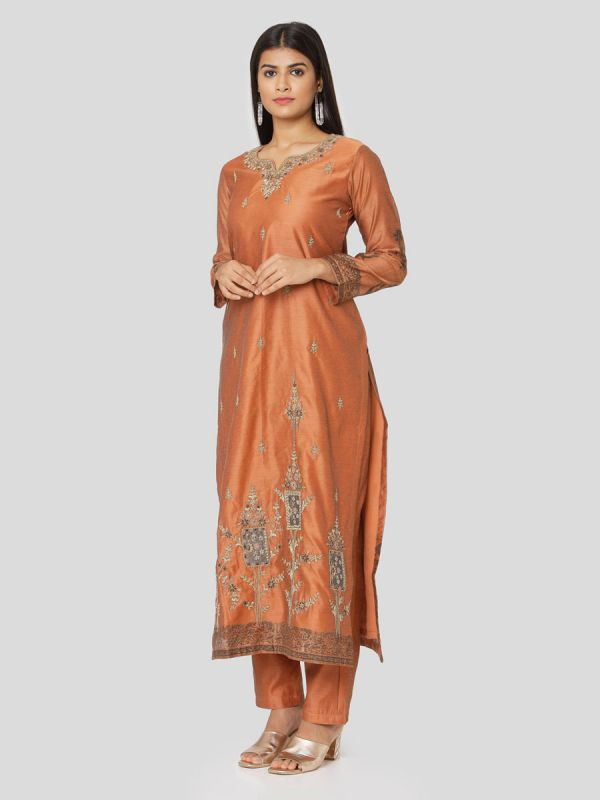 Copper Rust Chanderi Salwar Pant Set Done Hand & Machine Emboidery Work Comes With Block Print Dupatta