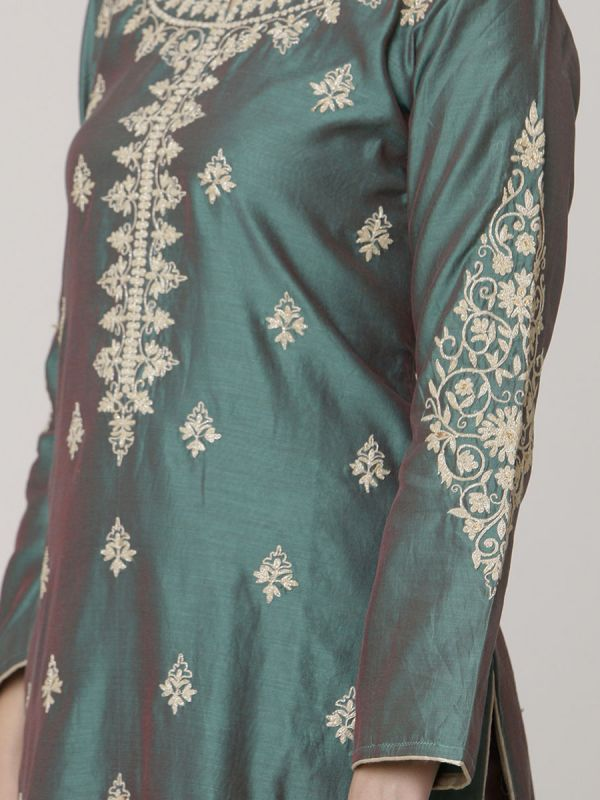 Teal Green Chanderi Readymade Salwar Pant Set With Dori Work & Block Print Dupatta