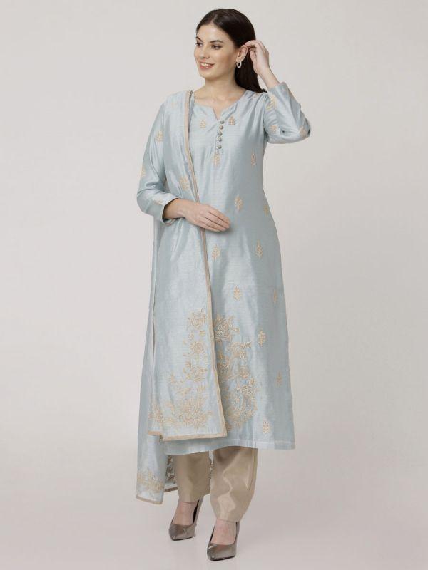 Carolina Blue Chanderi Readymade Salwar Pant Set Aplic Work Done Come With Dupatta
