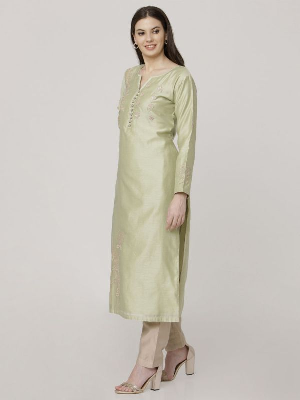 Moss Green Chanderi Readymade Salwar Pant Set Aplic Work Done Comes With Dupatta