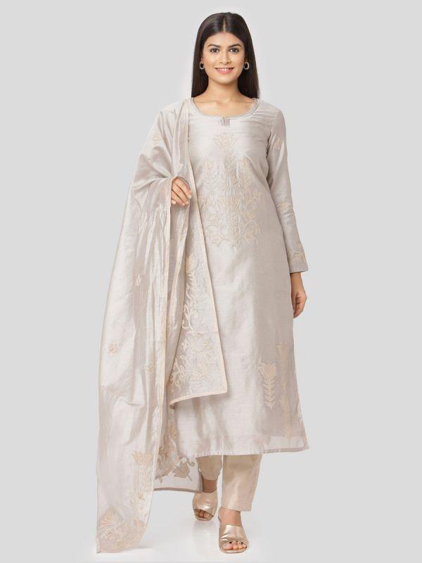 Sliver Grey Chanderi Readymade Salwar Pant Set Aplic Work Done Comes With Dupatta