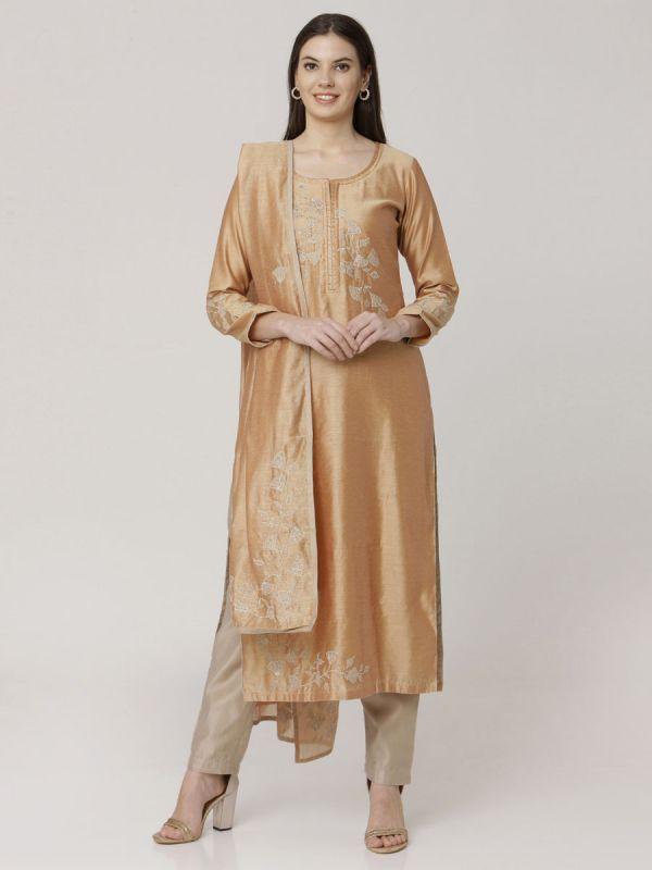 Sandy Brown Chanderi Readymade Salwar Pant Set Aplic Work Done Comes With Dupatta