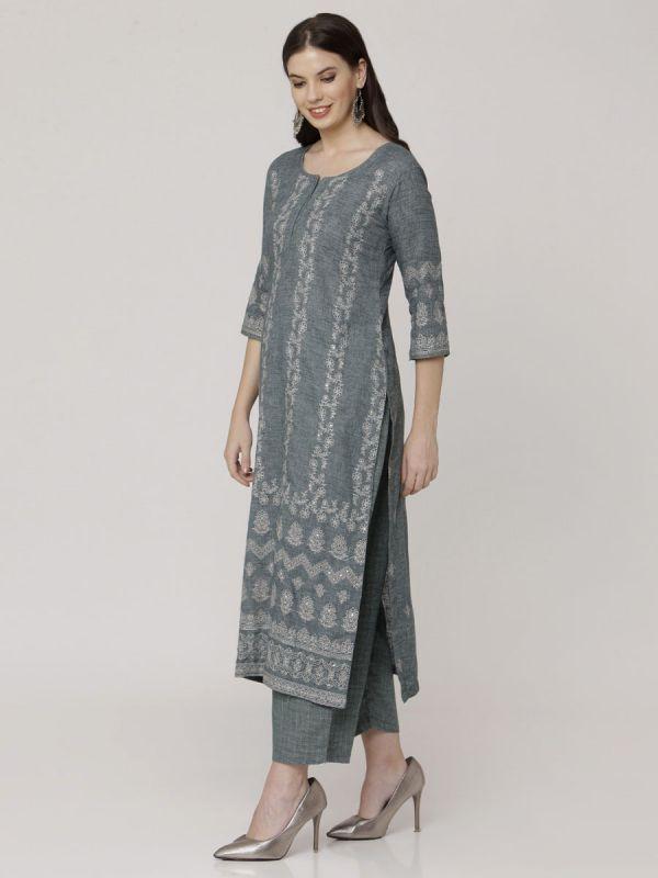 Feldgrau Green Cotton Handloom & Machine Embroidery Kurti Comes With Palazzo Pant