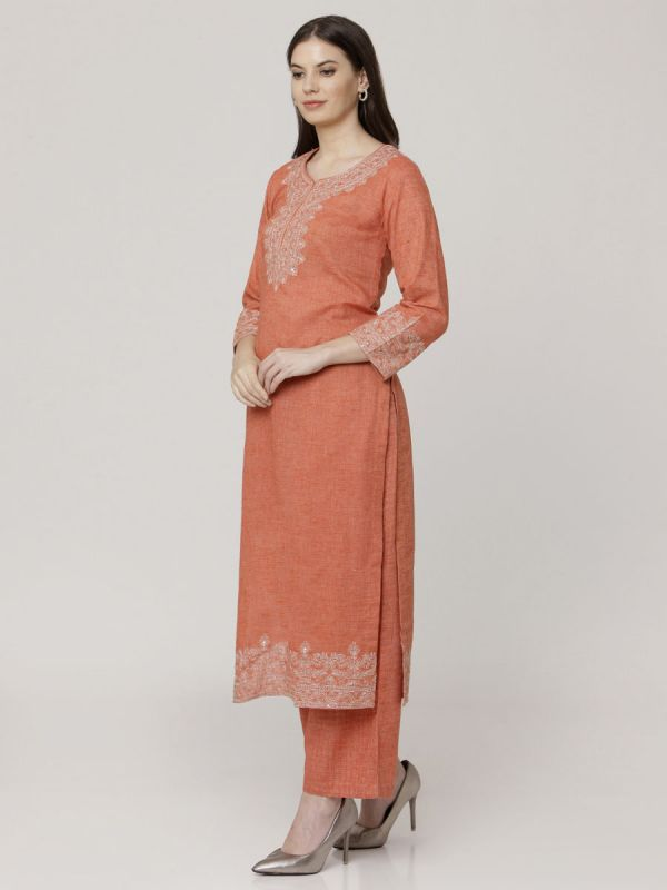 Carrot Orange Cotton Handloom & Machine Embroidery Kurti Comes With Palazzo Pant