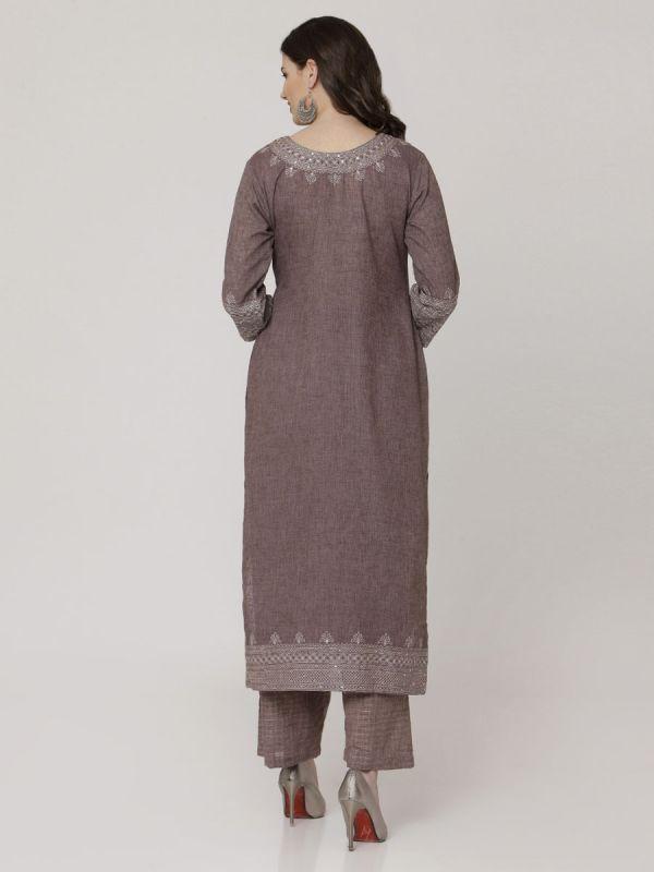 Tundora Brown Cotton Handloom & Machine Embroidery Kurti Comes With Palazzo Pant