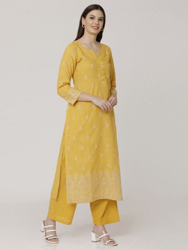 Mustard Yellow Cotton Handloom & Machine Embroidery Kurti Comes With Palazzo Pant