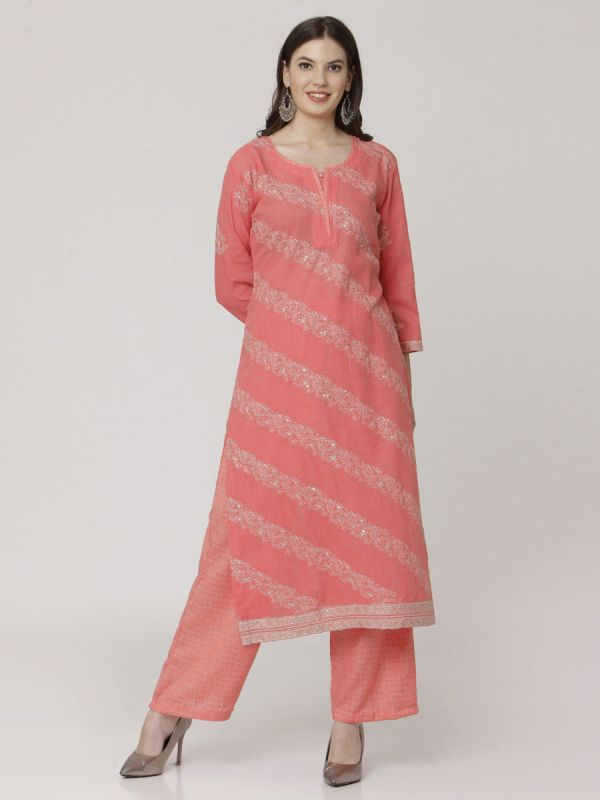 Coral Peach Cotton Handloom & Machine Embroidery Kurti Comes With Palazzo Pant