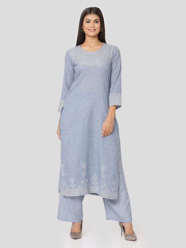 Doger Blue Cotton Handloom & Machine Embroidery Kurti Comes With Palazzo Pant
