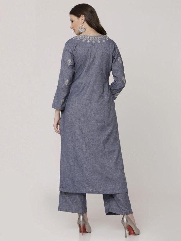 Indigo Blue Cotton Handloom & Machine Embroidery Kurti Comes With Palazzo Pant