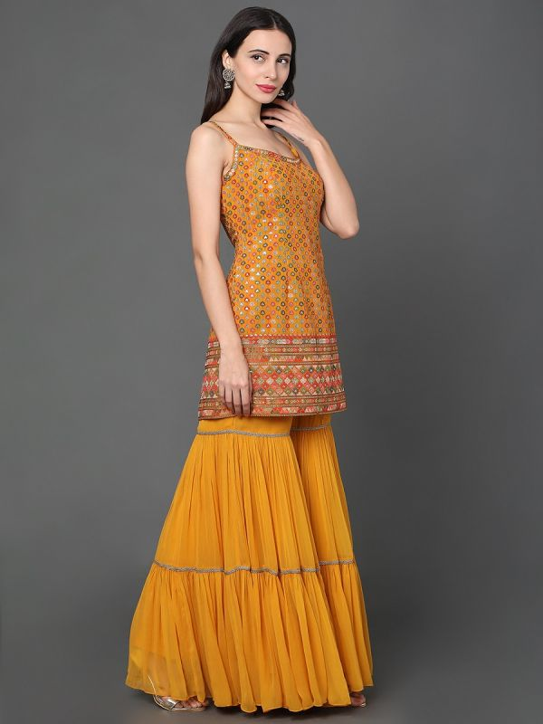 YELLOW GEORGETTE FABRIC WITH SEQUENCE AND THREAD WORK GHARARA SUIT