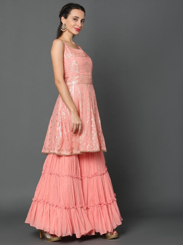 CANDY PEACH GEORGETTE FABRIC GHARARA SUIT WITH DUPATTA