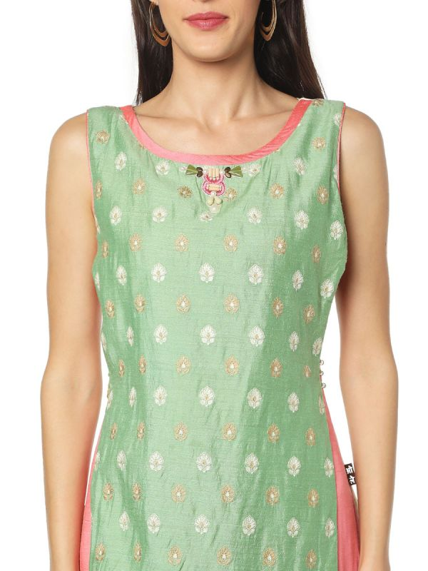 Cream & Green Art Silk Three Layered Fancy Kurti