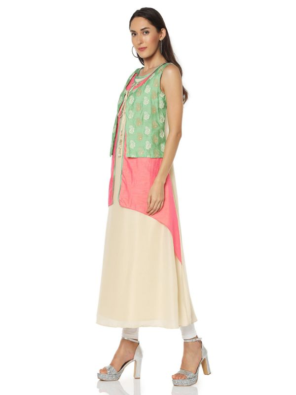 Green & Pink Art Silk Three Layered Fancy Kurti