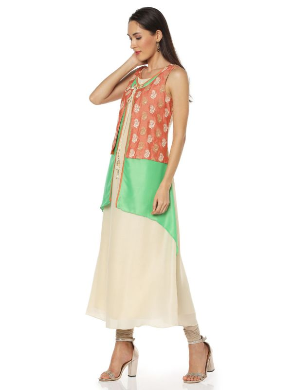 Green & Orange Art Silk Three Layered Fancy Kurti