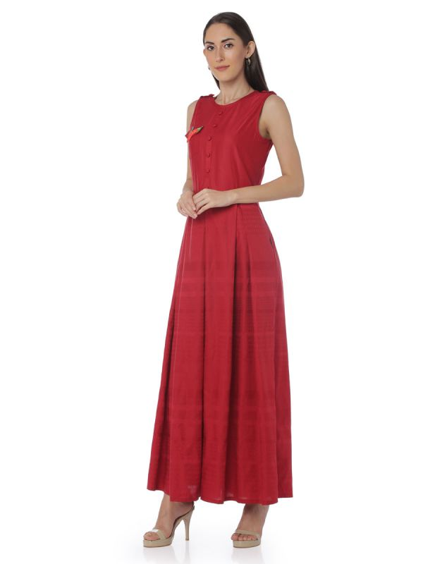 Blood Red Colour Art Silk Three Layered Fancy Kurti