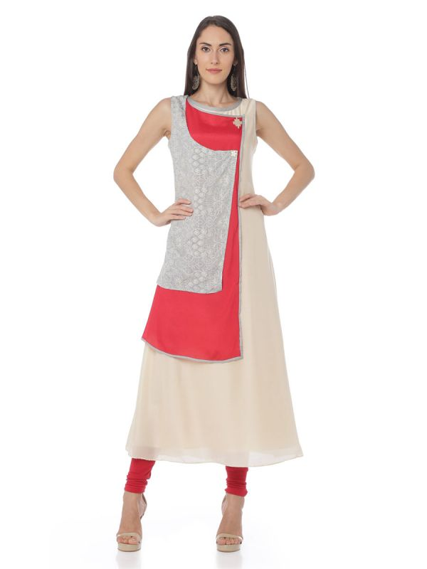 Pink And Grey Colour Art Silk Three Layered Fancy Kurti