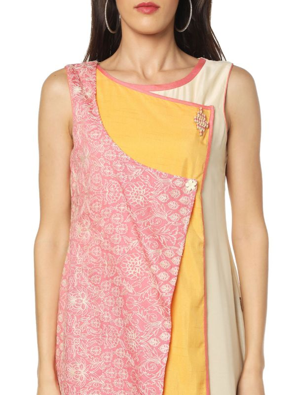 Pink And Yellow Colour Art Silk Three Layered Fancy Kurti