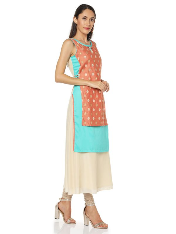 Orange & Blue Colour Art Silk Three Layered Fancy Kurti
