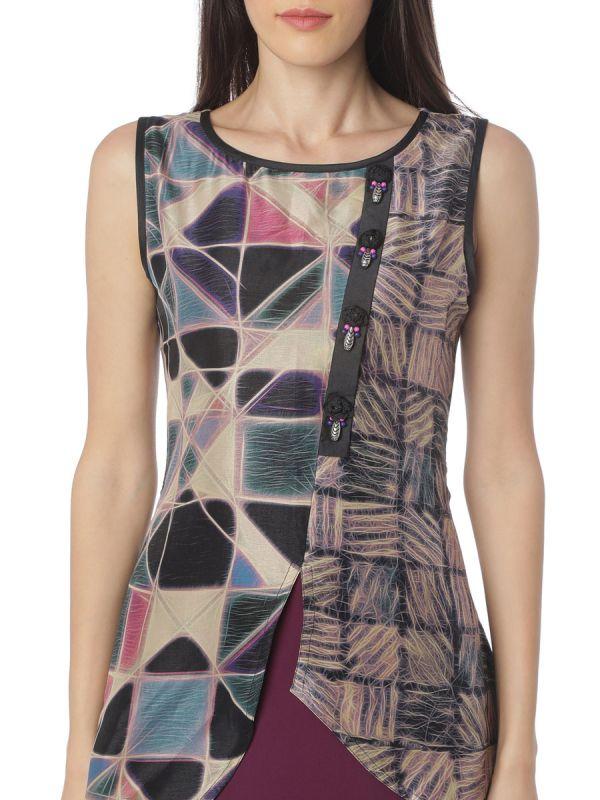 Multi Colour Art Silk A Line Kurti
