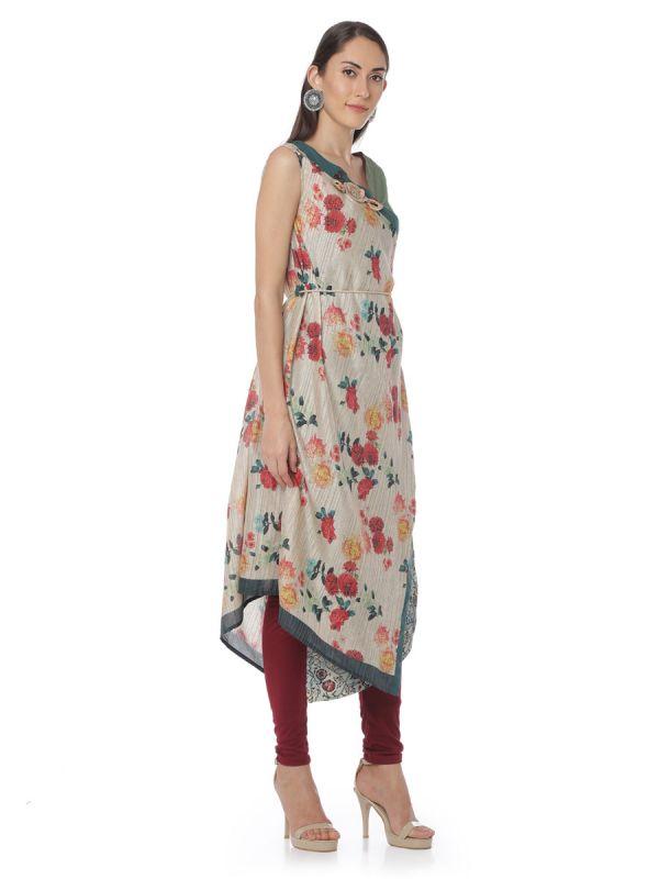 Multi Colour Flower Print Art Silk A Line Desginer Kurti