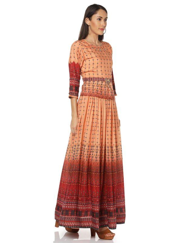 Orange & Rust Digital Print On Top And Skirt Yok Embroidery Work