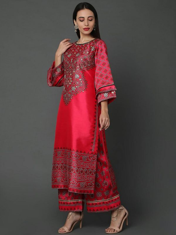 RED SILK FABRIC  WITH DIGITAL PRINT AND GOTAPATTI WORK SALWAR SUIT