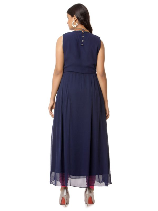 Navy Blue Color Georgette Kurti With Collar Embroidery Work