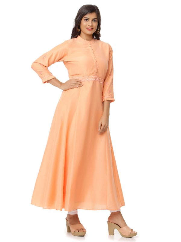 Carrot Peach Colour Pure Cotton  Kurti With Embroidery And Stand Collar