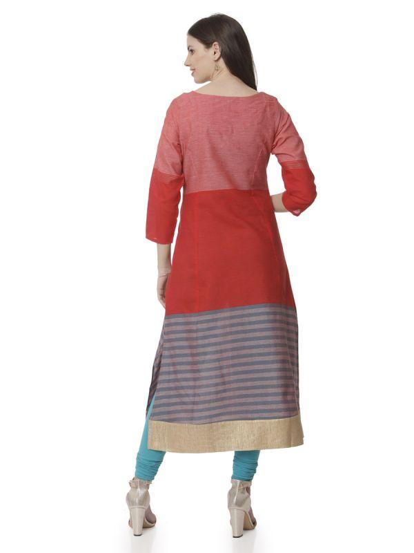 Red Orange Colour Neckline With Side Slits Cut Kurti With Zari Daman Pati