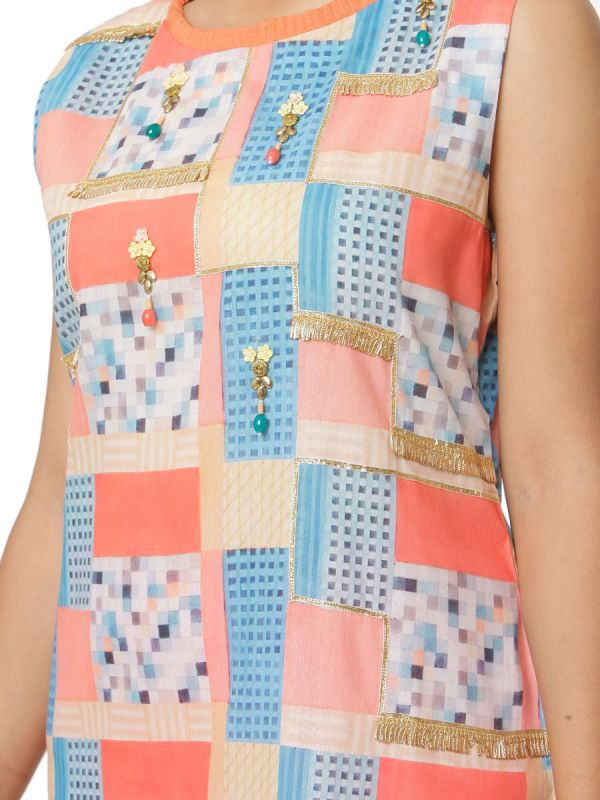 Multicolour Assorted Print Muslin Straight Kurti With Organza Stole