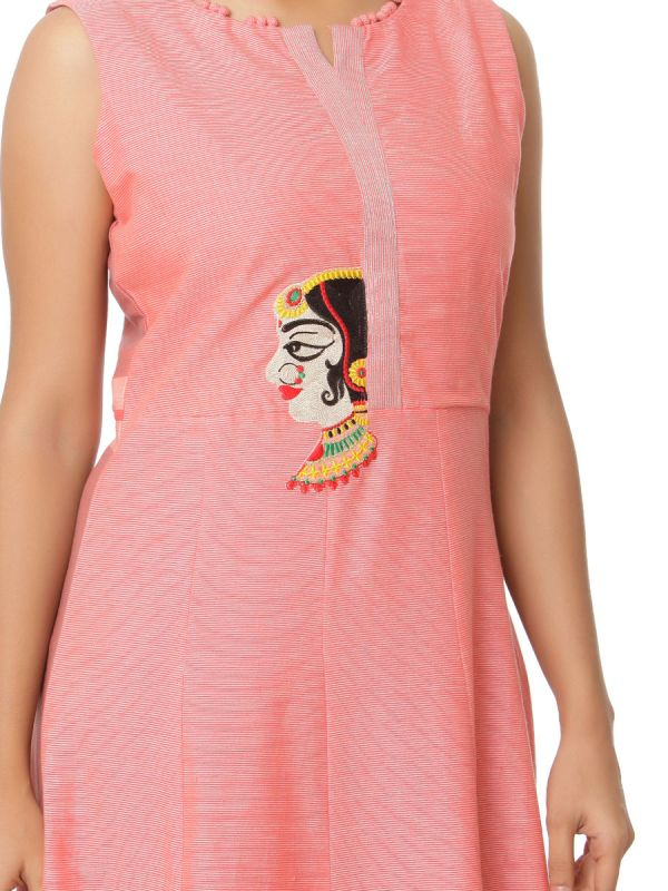 Pink Colour Pure Cotton Long Kurti With Embroidery Patch