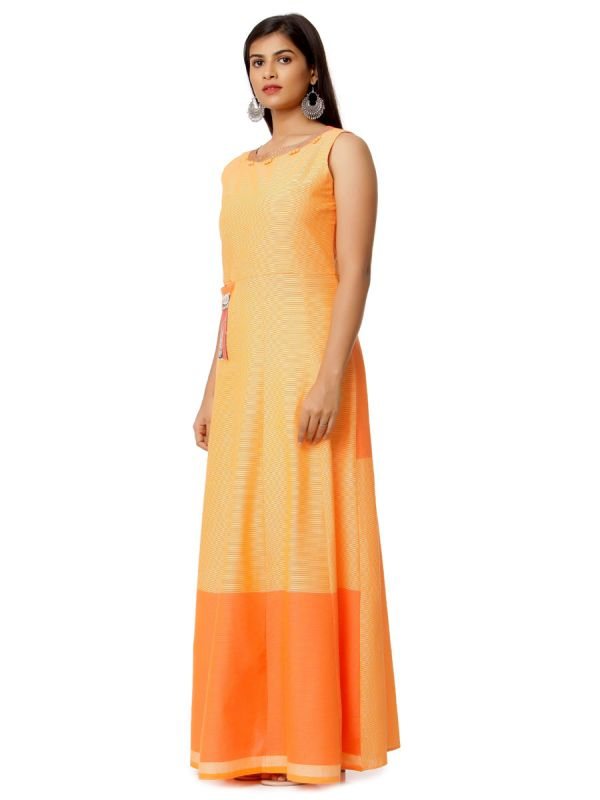 Orange Colour Pure Cotton Long Kurti With Embroidery Patch On Pocket