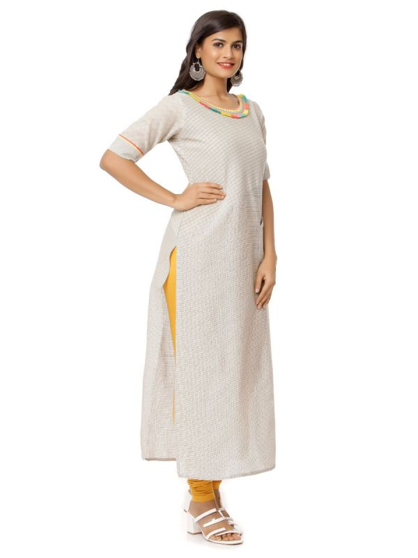 Light Grey Colour  Pure Cotton Checks Kurti With Colourfull Fur On Neckline Along With Pocket