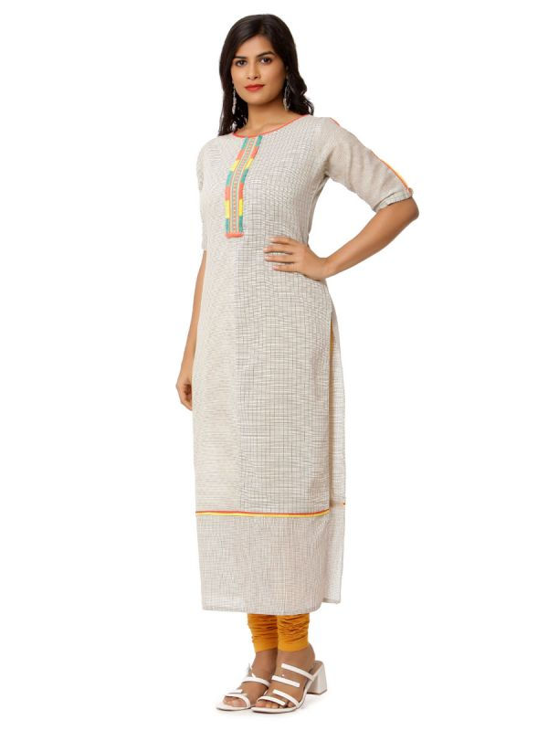 Light Grey Colour Pure Cotton Checks Straight Kurti With Colourfull Yok Work