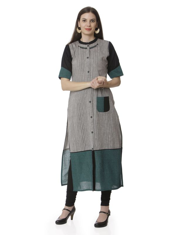 Dark Green & Grey Colour Casual Kurti With Front Pocket