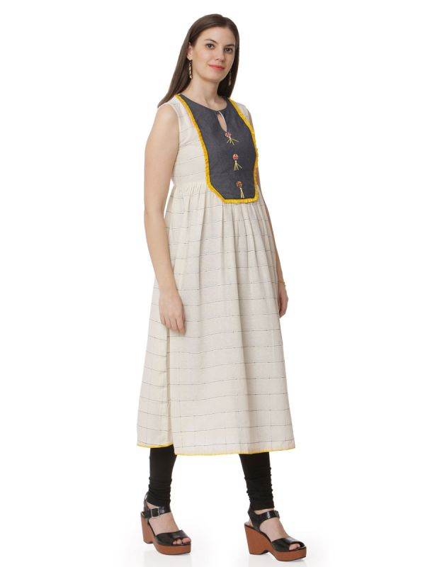 Cream Colour Casual Wear Kurti With Denim Neckline