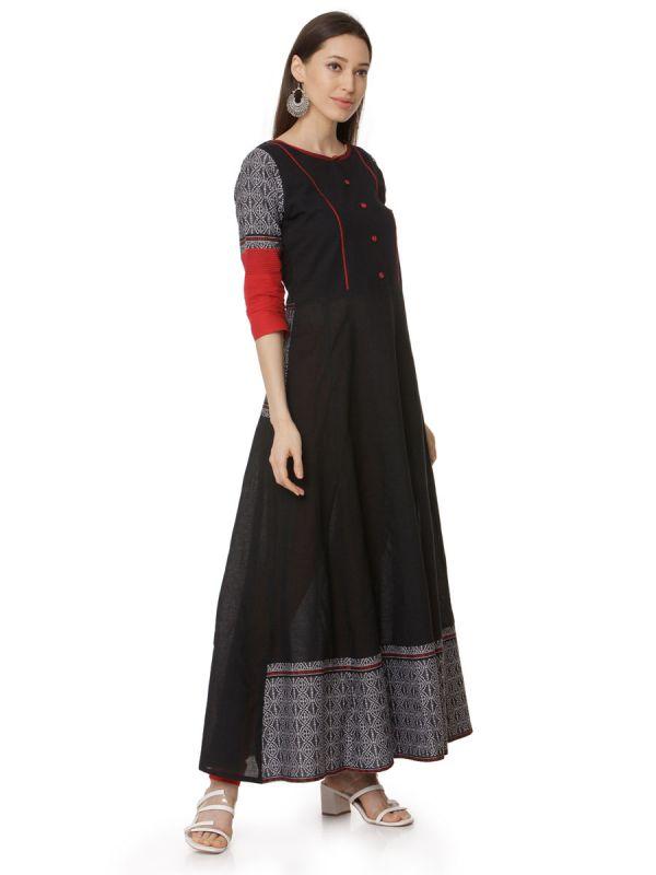 Black Colour Pure Cotton Printed Long Kurti