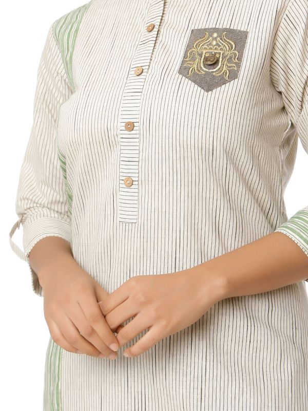 Off White Colour Pure Cotton Stripes Straight Kurti With Pocket Effect Embroidery Patch